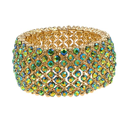 Green Rhinestone Bangle - Lavencious Tennis Rhinestone Stretch Bracelets Bridal Evening Party Jewelry Woman Bangle (Green - AB)