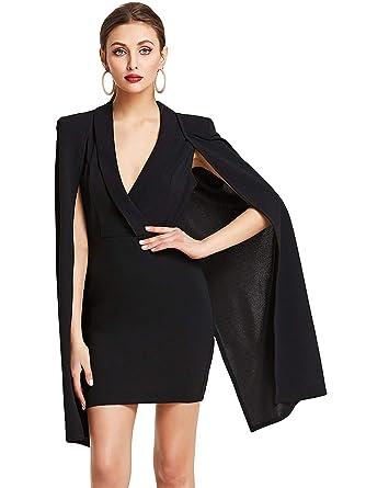 ee5fe5379882 Romwe Women s Elegant Plain V Neck Cloak Sleeve Surplice Work Sheath Dress  at Amazon Women s Clothing store