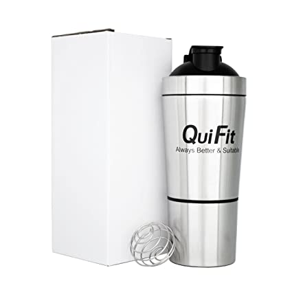 QuiFit - Coctelera de doble pared de acero inoxidable con ...