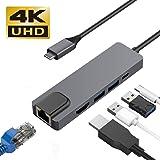 USB C ハブ WETON USB Type-C to hdmi lan 変換アダプター 有線LANポート 5in1 4K MacBook/New MacBook pro/ChromeBook などType-Cポートを搭載するデバイス対応 (5 in 1)