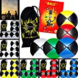5x Pro Thud Juggling Balls - Deluxe (LEATHER) Professional Juggling Ball Set of 5 + Mister Babache Ball Juggling Book of tricks, and Fabric Travel Bag! (Black/Silver)