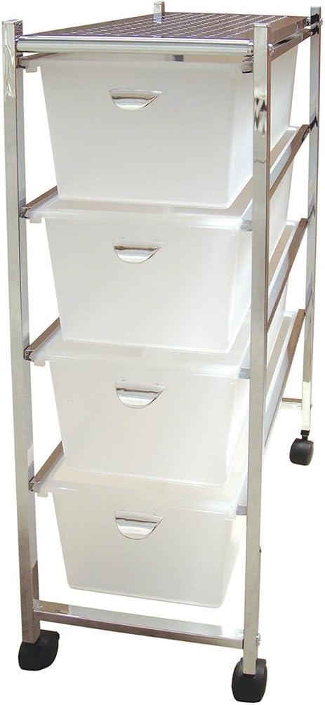 Laroom Carrito Estrecho 4 cajones, Chrome Acero Inoxidable Structure y PP Drawers, Blanco