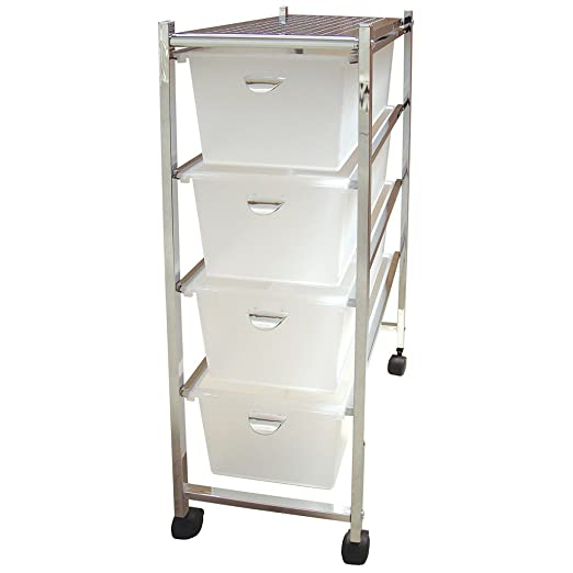 Laroom Carrito Estrecho 4 cajones, Chrome Acero Inoxidable Structure y PP Drawers, Blanco
