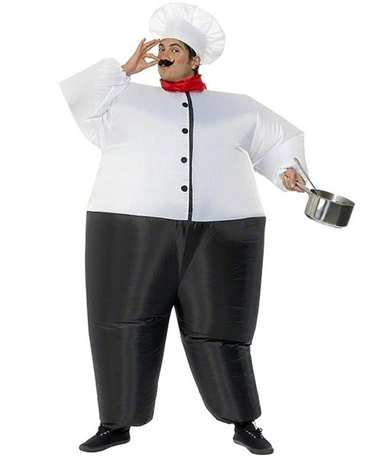 Wecloth Halloween Costume Inflatable Suit Master Chef Costume Funny Party Dress Cosplay Bodysuit White)