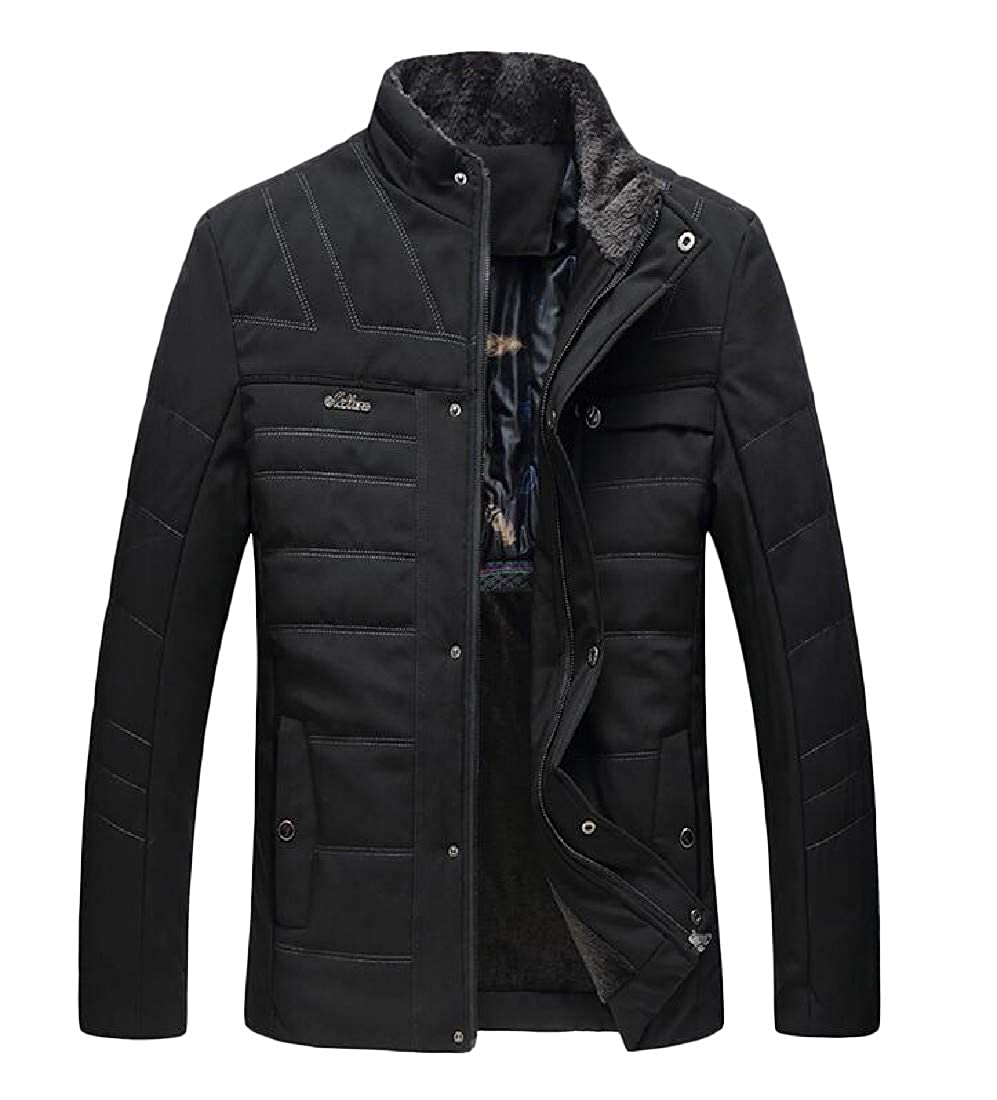 C/&H Mens Casual Quilted Warm Overcoat Fleece Slim Fit Thickened Parkas Coat