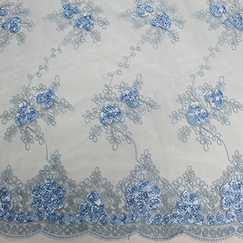 Double Edge Scallop (3D Corded Lace Fabric with Matte Floral Embroidery with Double Scallop Edge Wedding (Yard, Baby Blue))