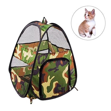 Casa para mascotas, diseño clásico de camuflaje, tienda de campaña para gatos, plegable