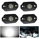 4WDKING White LED Rock Lights, 4 Pods IP68 Waterproof Underbody Glow Trail Rig Lamp LED Neon Lights for Truck Jeep Off…