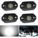4WDKING White LED Rock Lights, 4 Pods IP68 Waterproof Underbody Glow Trail Rig Lamp LED Neon Lights for Truck Jeep Off Road T