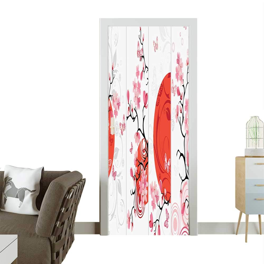 color08 W23.6 x H78.7 INCH Homesonne Waterproof Decoration Door Decals Christmas Tree ati Themed Star Military Style gold Red Sketch Effect Perfect ornamentW32 x H80 INCH