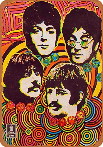 (Wall-Color 7 x 10 Metal Sign - 1968 Beatles Music Store Poster - Vintage Look)