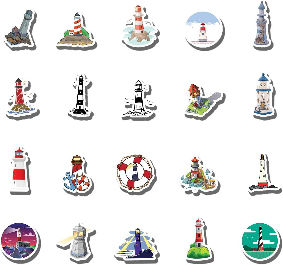 20 PCS Stickers Pack The Aesthetic Lighthouse Vinyl Colorful Waterproof for Water Bottle Laptop Scrapbooking Luggage Guitar Skateboard