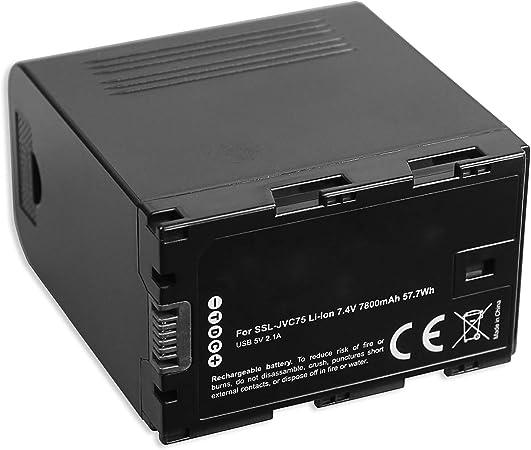 HM600 HMQ10 mit USB-A-Ausgang 5V, 2.1A - 7800mAh - 7.4V - 100/% kompatibel HM650 JY-HM360 LS300 HM250 1x Akku kompatibel mit SSL-JVC75-IDX f/ür JVC GY-HM200 HM660 HM620