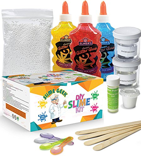 DIY Slime Kit for Kids - Elmer's Classic Glitter Glue - Includes Recipe, Glitter Glue, Containers – Blue, Yellow, Red - by Slime Geek - Geek Kit