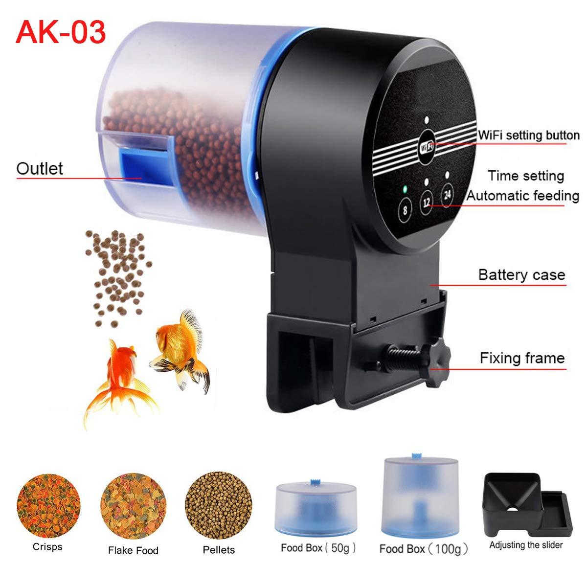 Automatic Fish Feeders by ALZERO, Electric Automatic/Manual Fish Feeder, Aquarium Tank Timer Feeder & Weekend 2 Fish Food Dispenser (AK-03)