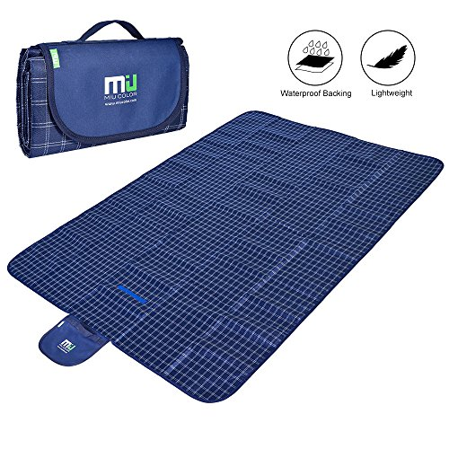 MIU COLOR Large Waterproof Outdoor Picnic Blanket, Sandproof and Waterproof Picnic Blanket Tote for Camping Hiking Grass Travelling Dual/Triple (2 Color Pique)