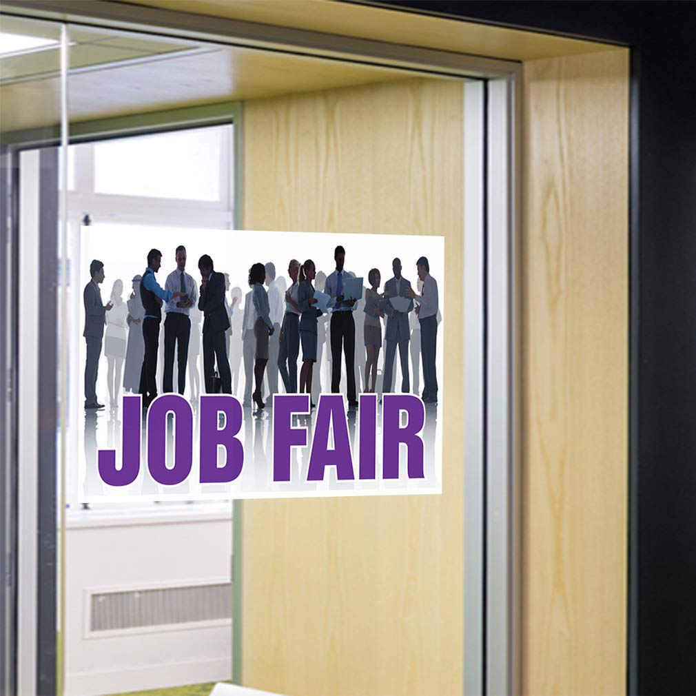 Set of 2 52inx34in Decal Sticker Multiple Sizes Job Fair #1 Business Banners Hiring Outdoor Store Sign White
