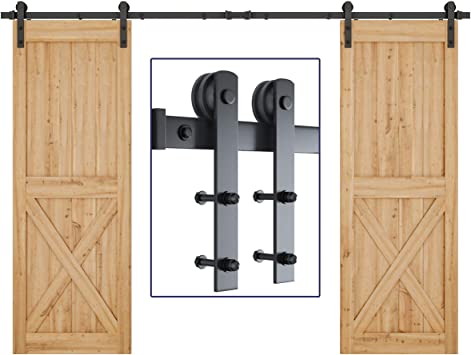Amazon Com Smartstandard 10ft Heavy Duty Double Door Sliding Barn Door Hardware Kit Smoothly And Quietly Easy To Install Includes Step By Step Installation Instruction Fit 30 Wide Door Panel I Shape