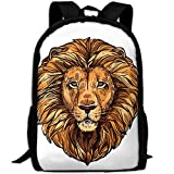 ZQBAAD Africa Lion Luxury Print Men And Women's Travel Knapsack