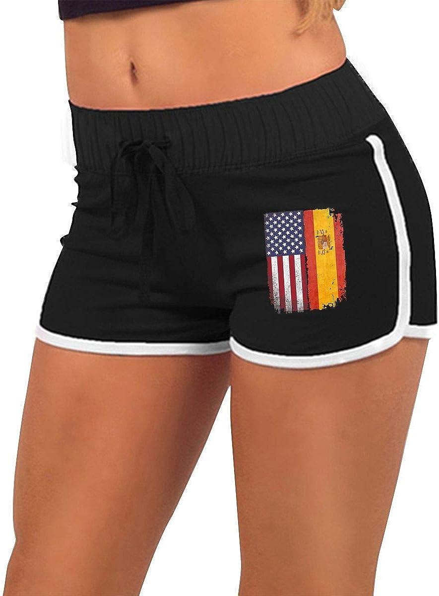 fshsh limeiliF Pantalón Corto para Mujer para Correr España Bandera Americana Mujeres de Cintura Baja Elástico Sexy Entrenamiento Deportivo Pantalones Cortos para Correr Pantalones Calientes: Amazon.es: Ropa y accesorios