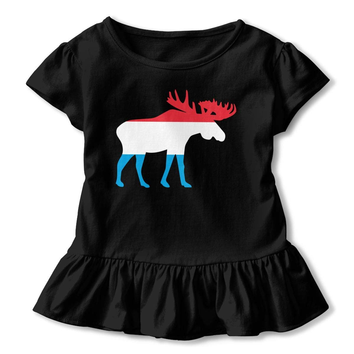 Casual Tunic Shirt Dress with Falbala PMsunglasses Short Sleeve Luxembourg Moose Shirts for Children 2-6T