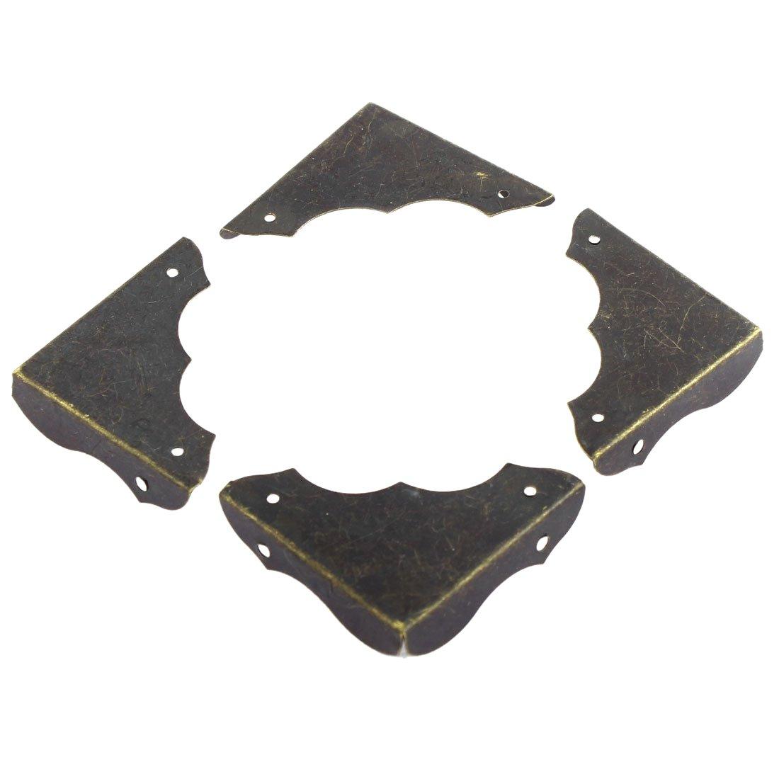 SODIAL(R) Desk Corner Protector Metal Table Retro Style Corner Covers Protector 40mmx40mm 4 Pcs Bronze