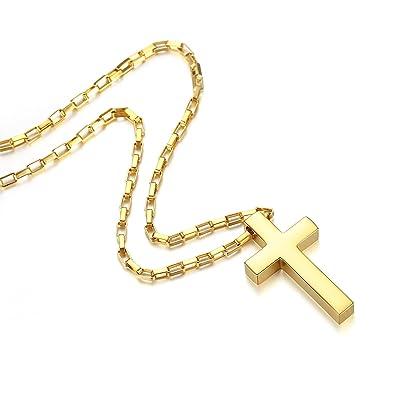 Amazon.com: revemcn joyas acero inoxidable Simple Cruz ...