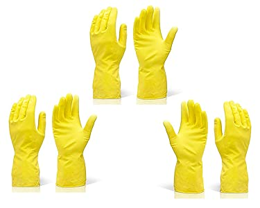 DeoDap Reusable Rubber Hand Gloves for Cleaning (Colour May Vary)...