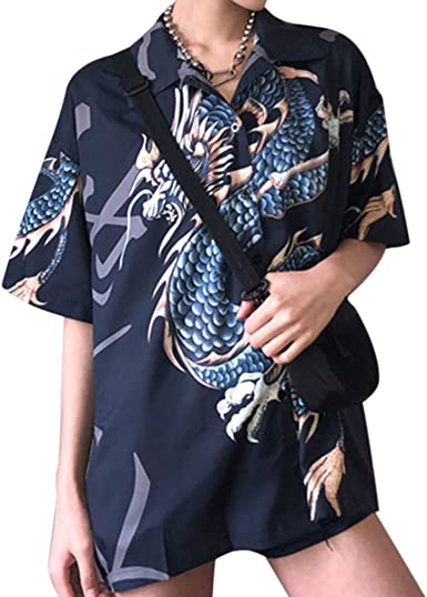 Mcaishen Camisas De Verano para Mujer, Harajuku para Mujer, Camisa con Estampado De Dragón, Camisa De Manga Corta, Camisa Holgada De Calle, Ropa De Moda para Mujer.(Blue): Amazon.es: Ropa y accesorios