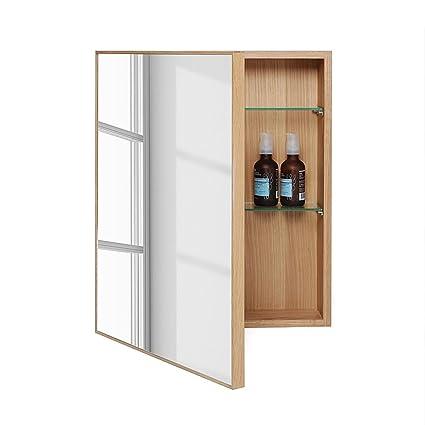 official photos cc379 6476f Wireworks 64001.27 Wooden Bathroom Cabinet & Mirror in Natural Oak Slimline  550mm - Beige