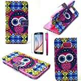 S6 Edge Case, JCmax Owl Pattern [Wallet Feature] Top Grade PU Leather Cover With Folio Flip Stand Feature For Samsung Galaxy S6 Edge (1 x screen protector 1 x stylus pen)-Nighthawk