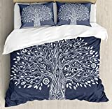 Ambesonne Tree of Life Duvet Cover Set King Size, Ethnic Doodle Tree Illustration Oriental Harmonious Design Mother Nature, Decorative 3 Piece Bedding Set with 2 Pillow Shams, Dark Grey White