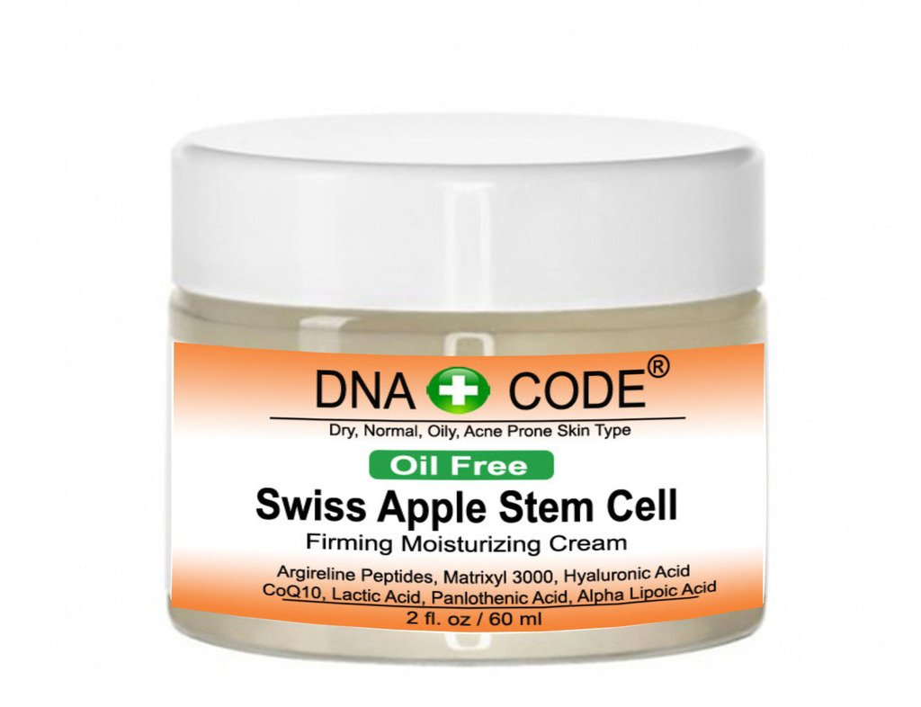 OIL FREE- Swiss Apple Stem Cell Cream w/Argireline, Matrixyl 3000, Hyaluronic Acid, CoQ10. Big 2 OZ