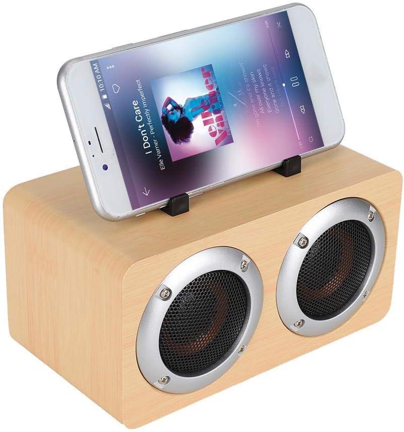 Kafuty W5B Soporte portátil de Madera Simple Altavoz Bluetooth inalámbrico Recargable Tarjeta TF Entrada AUX Compatible con teléfono móvil/computadora/Otros Dispositivos: Amazon.es: Electrónica