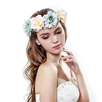 Amazon.com   Pretty See Flower Crown Delicate Women Headband Crown Floral  Garland Headbands  Halo coachella  Edc  Hippie Flower Headband  Garden  Party ... 01067042b4f