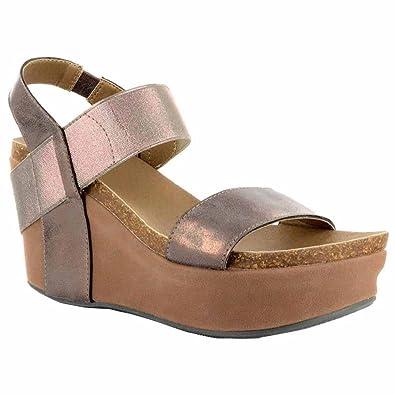 d1219afd325d3 Corkys Platform Womens Thick Leather Strap Wedge Heel Sandal