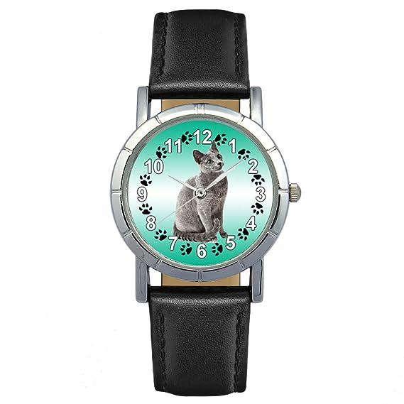 Timest - Gato Azul Ruso - Reloj para mujer con correa de cuero negro Analógico Cuarzo SA2651: Timest: Amazon.es: Relojes