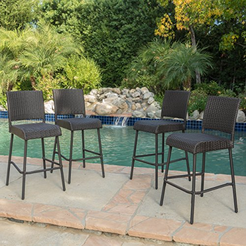 Sandy Point Wicker Outdoor Barstool (Set of 4) by GDF Studio