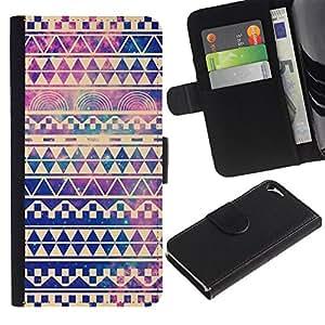 Billetera de Cuero Caso Titular de la tarjeta Carcasa Funda para Apple Iphone 5 / 5S / sky universe vignette chevron pattern / STRONG