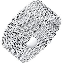 LWLH Jewelry Womens 925 Sterling Silver Plated Fashion Weave Braided Mesh Korean Style Ring Wedding Band Szie 9