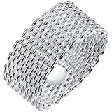 LWLH Jewelry Womens 925 Sterling Silver Plated Fashion Weave Braided Mesh Korean Style Ring Wedding Band
