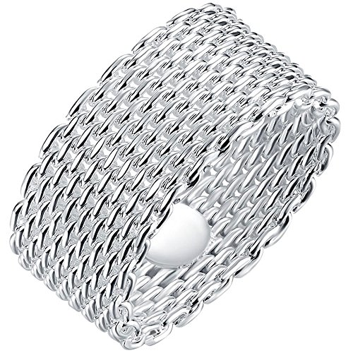 LWLH Jewelry Womens 925 Sterling Silver Plated Fashion Weave Braided Mesh Korean Style Ring Wedding Band Szie 6 (Round Sterling 925 Mesh Silver)
