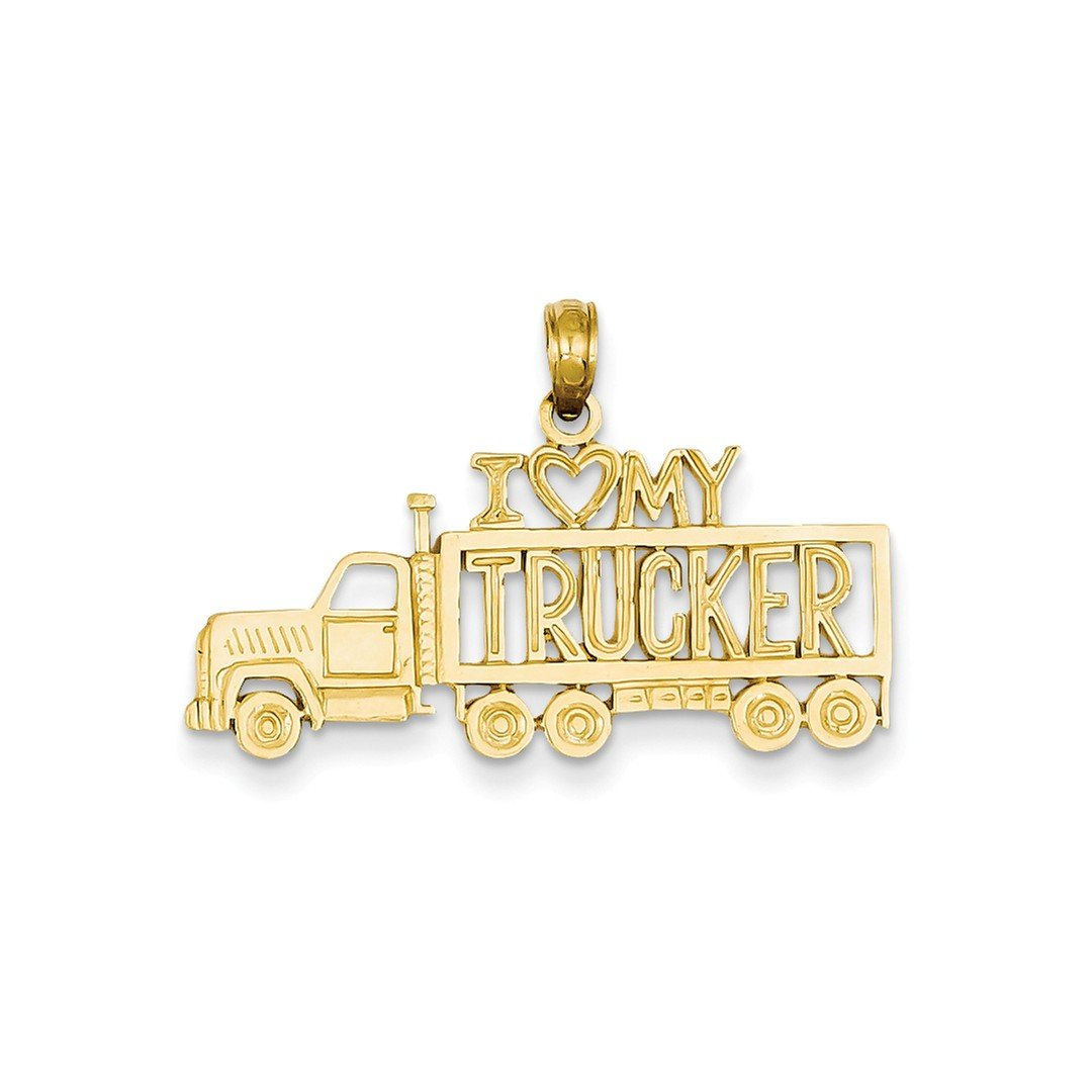 ICE CARATS 14k Yellow Gold I Love My Trucker Truck Pendant Charm Necklace Talking Travel Transportation Fine Jewelry Gift Set For Women Heart