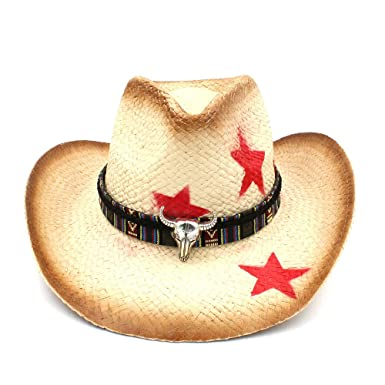 Women Men Straw Western Cowboy Hat with Bohemia Bull Head Ribbon Star Lady  Dad Sombrero Hombre 722eb2bfa433