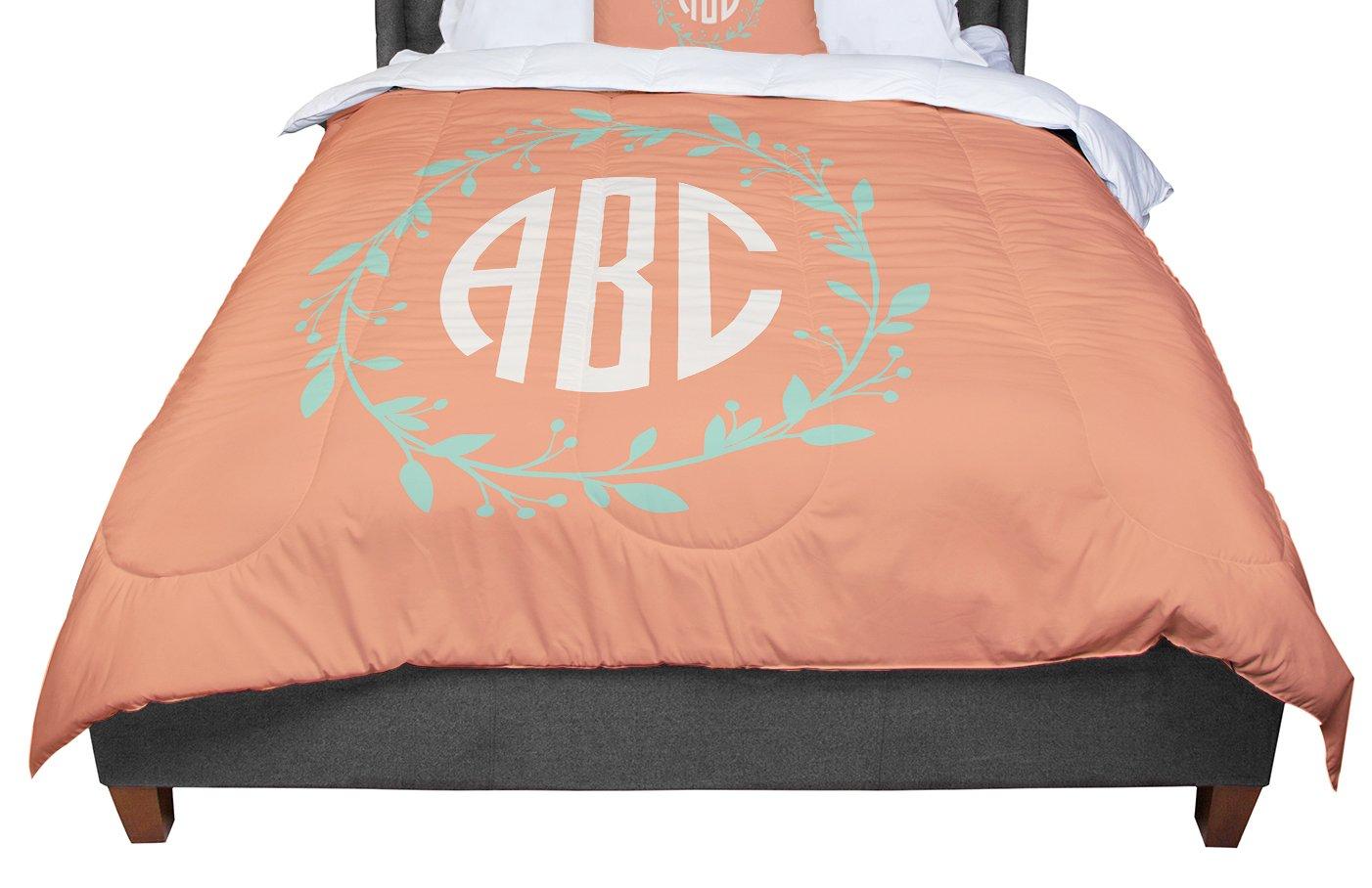 Cal King Comforter KESS InHouse KESS Original Classic Orange Wreath Monogram Green Illustration King 104 X 88