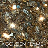 """Golden Flame® 10-Pound x 1/4"""" Rich Copper **Reflective** Fire Glass for Fireplace Glass and Fire Pit Glass"""