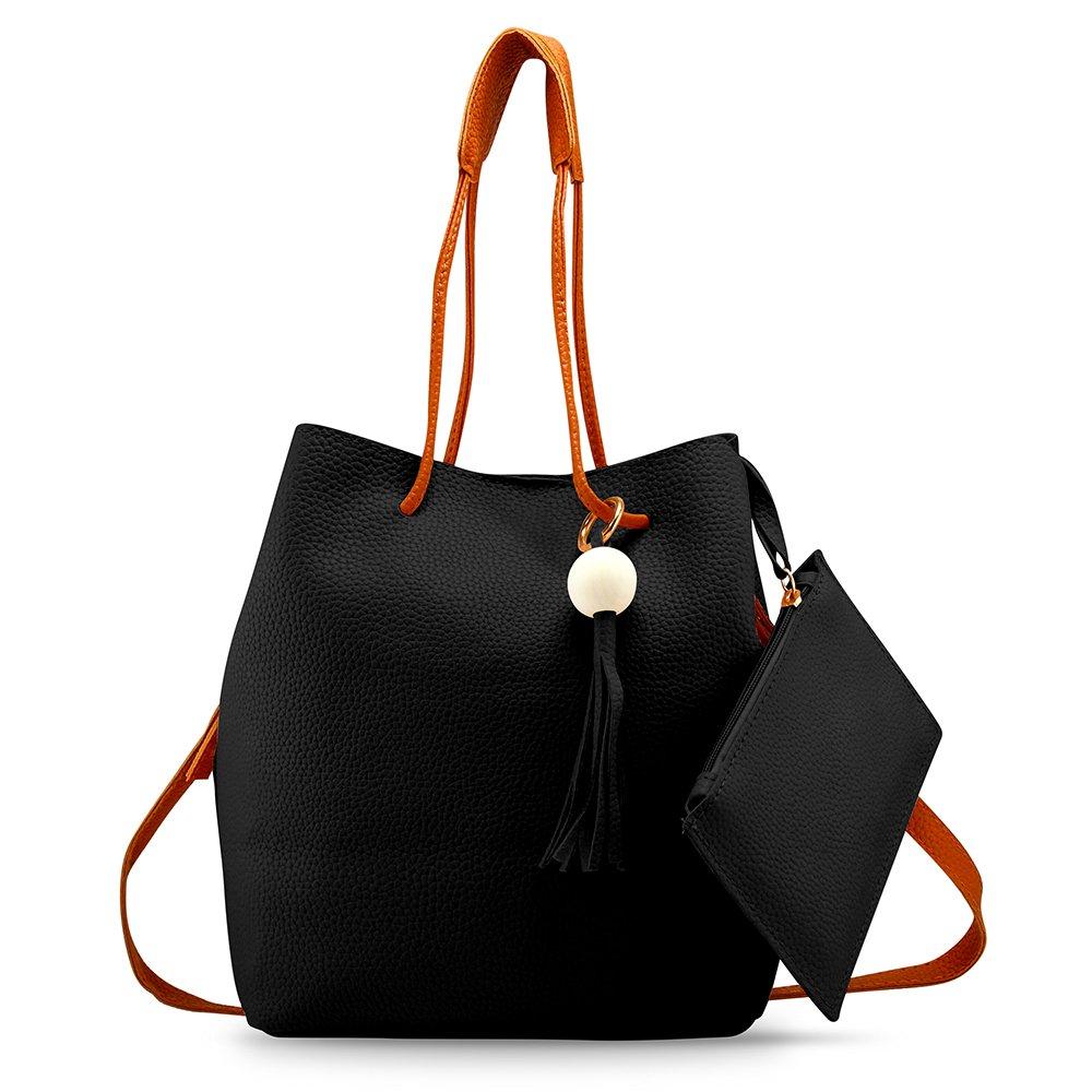 Oct17 Fashion Tassel buckets Tote Handbag, Women Messenger Hobos Shoulder Bags, Crossbody Satchel Bag - Black by OCT17 (Image #9)