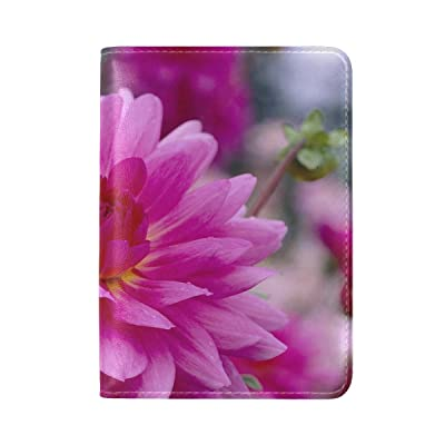 Plants Flower Dahlia Pink Mauve Leather Passport Holder Cover Case Travel One Pocket