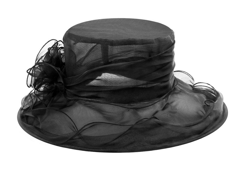 Las mujeres dama retro flor de gasa sombrero Kentucky Derby sombrero de sol ala ancha gorra de gasa Organza Iglesia British Tea Party boda vestido Cap
