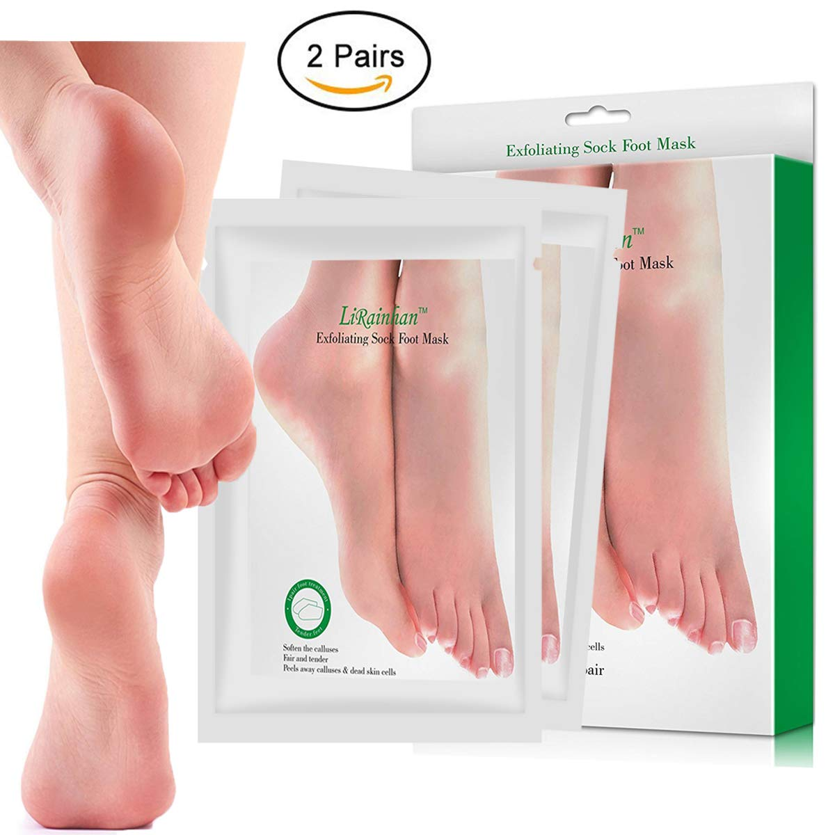 2 Pairs Exfoliant Foot Peel Mask for Soft Feet in 3-7 Days, Exfoliating Booties for Peeling Off Calluses & Dead Skin, Baby Your feet, for Men & Women (Olive) LiRainhan